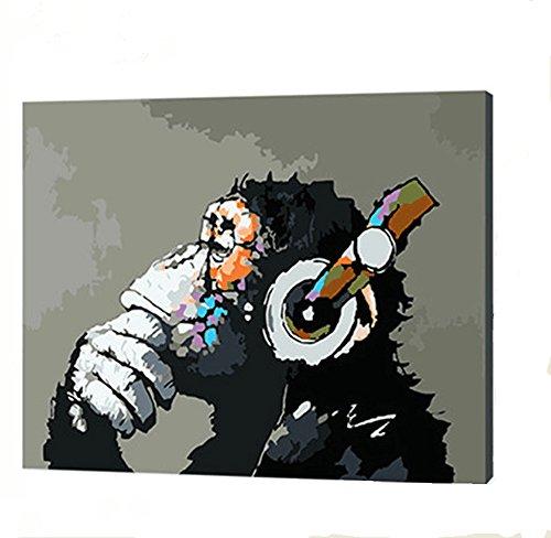 YXQSED [Holzrahmen] DIY ölgemälde, Malen nach Zahlen Kits-Musik und AFFE 16*20 inch