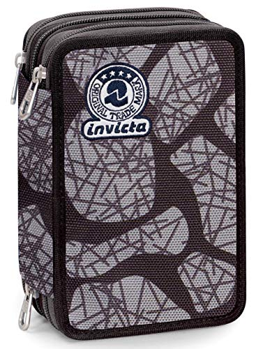 Astuccio 3 Zip Invicta Stone, Nero, Con materiale scolastico: 18 pennarelli Giotto Turbo Color, 18 matite Giotto Laccato...