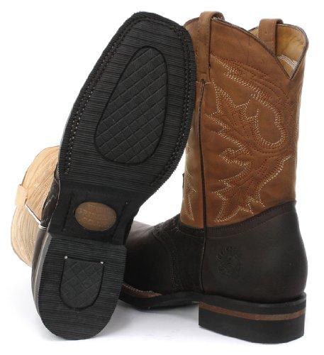 Grinders Frontier Homme Western Cowboy Bottes, Marron Crazy Horse Dark Brown