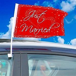 2 pieza boda bandera coche bandera del coche bandera roja Just Banners casadas boda