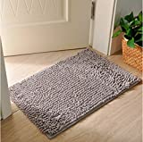 Soclear Fußmatte Chenille–Teppich D Entree–Badematte–Tapis de Sol, grau, 70 cm x 140 cm
