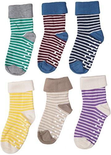 1-2-4-6 Paar Baby Kinder Socken Stoppersocken Bio-Baumwolle Gr.18 bis 26 ABS Antirutschsocken Babysocken Kindersocken (21-23, braun-Natur)