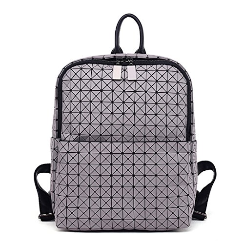 Geometrischer Frauen-Rucksack der Rochen-Baobao Frauen japanischer Silikon-modischer Softpack-Reise-Rucksack mit Logo-hellgrauem -
