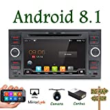 Android 7.1 Quad Core HD 1024*600 Double DIN Car Stereo Navigation Per Ford C-Max/Connect/Fiesta/ Focus/Fusion/Galaxy/Kuga S-Max/Mondeo Schwarz Supporto DAB/Mirror Link/WiFi/OBD Free Camera&Canbus