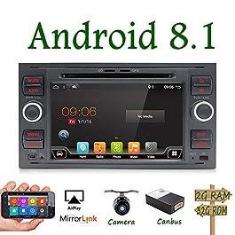 Android 9.0 Autoradio Doppia DIN Car Stereo Navigatore Per Ford C-Max/Connect/Fiesta/ Focus/Fusion/Galaxy/Kuga S-Max/Mondeo Schwarz| 7 pollici 2G/32G | Supporto DAB Mirror Link WiFi | Camera & Canbus
