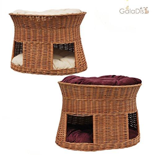 katzeninfo24.de 2-21-5 GalaDis Große Katzenhöhle XXL (75 x 55 x 53 cm) aus Weide mit zwei Wendekissen / Katzenkorb / Katzenbett für eine oder zwei Katzen / Katzenturm / Katzenbett / auch f. Maine Coon & Co.