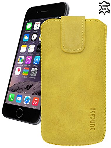 iPhone 6 / 6s (4.7 Zoll) Original Suncase® Ledertasche Tasche Case Schutzhülle Hülle (mit ZUSÄTZLICHER Transparent Hülle) in pebble-blue antik-senfgelb