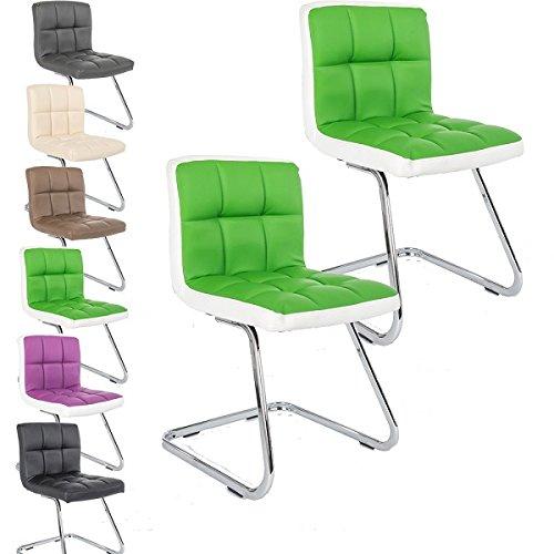 2 x Lounge Stuhl Freischwinger Kunigunde - Konferenzstuhl - Küchenstuhl - viele Farben - Retro Look - Barstuhl - Esszimmerstuhl - Polsterstuhl (Grün - Weiß)