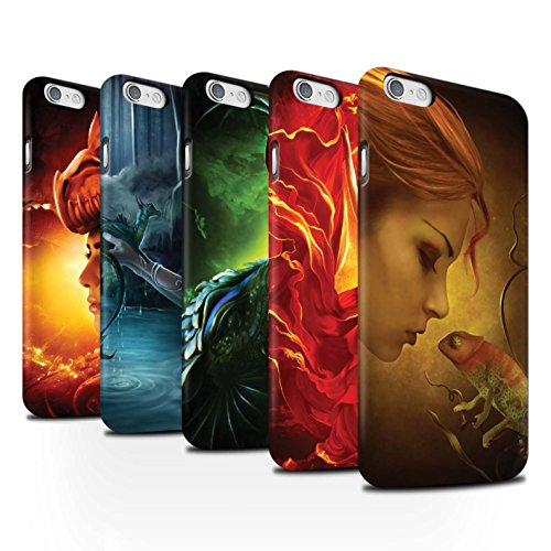 Officiel Elena Dudina Coque / Clipser Matte Etui pour Apple iPhone 6S / Écailles Vertes Design / Dragon Reptile Collection Pack 5pcs