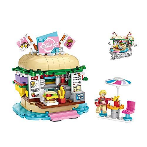Tawcal DIY Bausteine Set, Hamburger Laden Konstruktion Baukasten Miniatur Bauklötze Kit Lehrreich Spielzeuge Halloween, Party, Weihnachten Geschenk für Kinder Junge Mädchen