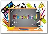 12 Einladungen zur Einschulung SCHULTAFEL, 12 Postkarten im DIN A 6 Format (14,8 x 10,5 cm), farbenfrohes Einladungskarten-Set für den Schulanfang/Schuleinführung (10728)