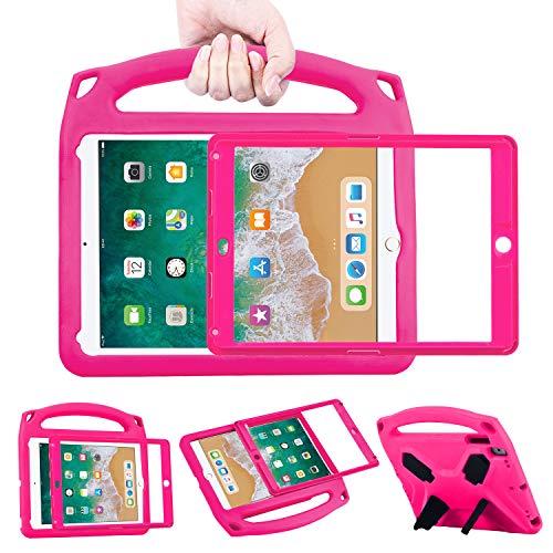 BelleStyle Kinder Hülle für iPad 9.7 2018/2017, Superleicht Stoßfest Ständer Schutzhülle Cover Case mit Displayschutz für Apple iPad 9.7 Inch 2018/2017/iPad Air/iPad Air 2/iPad Pro 9.7 (Rose)