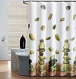 SHU UFANRO Polyester Duschvorhang mit Glücklich Stein Muster Schnell trocknendes Gewebe Verdicktes, Warmes Undurchsichtiges Badezimmer Duschvorhang