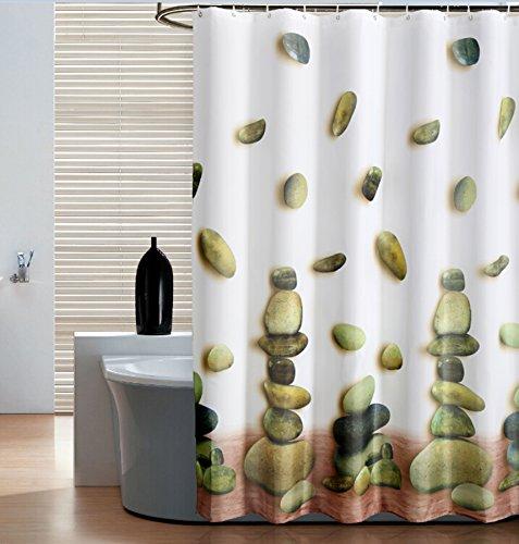 SHU UFANRO Polyester Duschvorhang mit Glücklich Stein Muster Schnell trocknendes Gewebe Verdicktes, Warmes Undurchsichtiges Badezimmer Duschvorhang (Schnell Trocknende Gewebe)