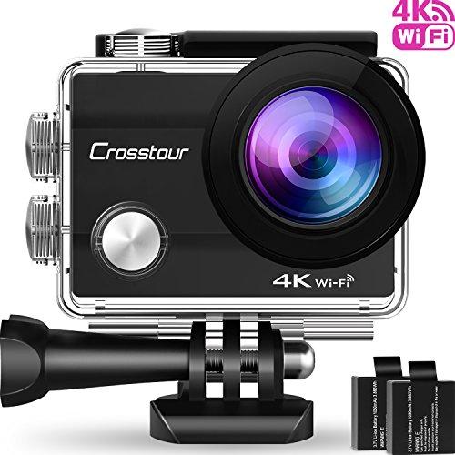 Crosstour Caméra de Sport 4K Wi-Fi Ultra HD Étanche 2 'LCD 30M Sous-marine 170° Grand-angle avec 2 Batteries Rechargeables 1050mAh et Kit d'accessoires pour Cyclisme Natation Plongée