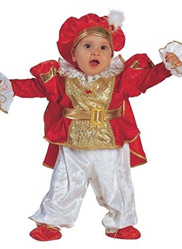 Baby Kostüm König rot-gold - Baby Kostüm Prinz mit Hut, Größe:86