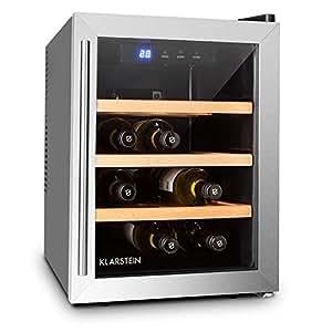 Klarstein Reserva 12 Uno • Cave à vins • Cave à vin réfrigérante • Capacité de 33 litres • 9 bouteilles • 3 étagères amovibles • Éclairage LED • Température réglable • 11 à 18 °C • Noir-Argent