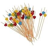 MagiDeal 100pcs Palitos de Cóctel de Bambú Forma de Corazón Decoración de Fiesta de Verano Palillos para Comida 4 Colores - Multicolor