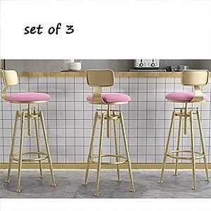 STOOL Bar, Café, Restaurant Stuhl, 3-Teiliger Barhocker Mit Fußstütze Amp; Rücken, Samtkissen, Verstellbar Und Drehbar (Pink)