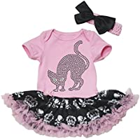 Halloween Dress strass gatto in cotone rosa body Corona Teschio tutù Set nb-18m