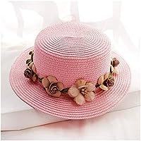 Fengdp Sombra Plana Cinta de la Flor del Arco de Padre-Hijo Verano Nuevas señoras Sombrero for el Sol Sombrero del Cubo Beige Tapa del cordón del Sombrero de Paja Sombrero de la Playa niña
