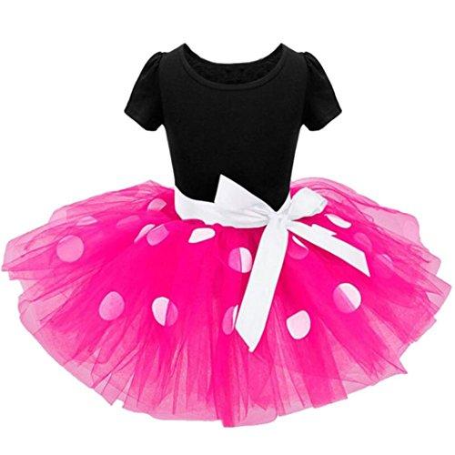 Schöne Kleider Babykleidung Kinderkleidung Longra Kinder Baby Mädchen Kleider Pageant Punkte Bowknot Kleid Party Karneval Ballkleid Prinzessin Kleid Kostüm Tutu Kleid (Hot Pink, 100CM 3Jahre) (Prinzessin Rosa Tutu)