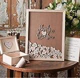 GUESTBOOK Libro degli Ospiti per Matrimonio Libro degli Ospiti, Telaio Personalizzato, Rustico Alternative Drop Top Box, Custom Wood Heart Signature Book, Wedding Decor N550438