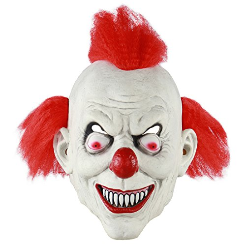MICG Halloween Gruselige Clownmaske rotes Haar Horror Dämon Joker Cosplay Party Kostüm Maske Killer Clown