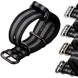 ZULUDIVER® Nylon Watch Strap ZULU Classic Bond Black / Grey Stripes 20, 22, 24mm