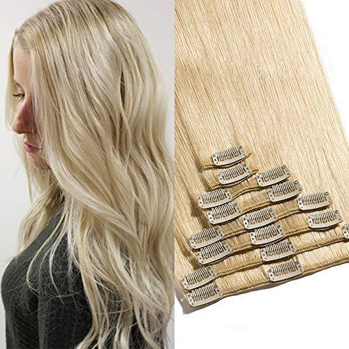TESS Extensions Echthaar Clip in Haarverlängerung Standard Weft Grad 7A Lang Glatt guenstig Remy Human Hair 8 Tressen 18 Clips 20cm-65g(#613 Hell-Lichtblond)