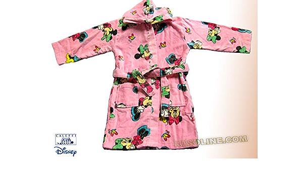 Sfiziosa Accappatoio Bambina Minnie con Cappuccio Colore Rosa Taglie 3//4-5//6-7//8 Anni