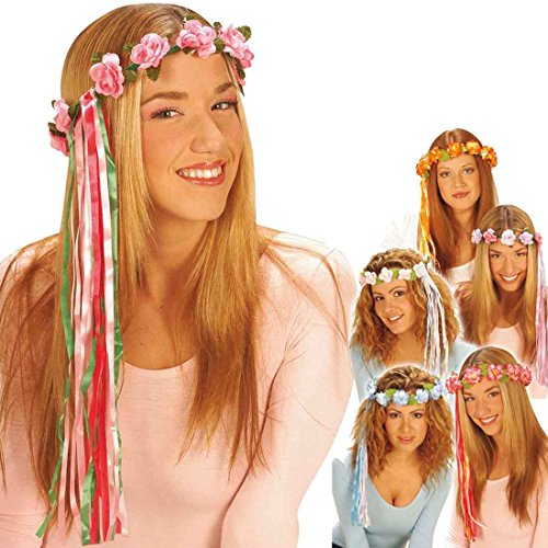 Kostüm Haar Rosa - Amakando Blumenkranz Haare Haarschmuck Blumen rosa Hippie Blumenhaarkranz Fee Blütenkranz Elfe Blumenschmuck Haar Kostüm Accessoire Blumenkind Mottoparty Zubehör