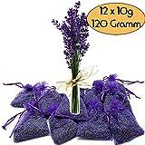 12x Lavendelsäckchen Bester frischer Lavendel - Insgesamt 120g Lavendelblüten Goût de Paris Duftsäckchen für Lavendelduft für Wäsche, Motten,Entspannung & Einschlafen
