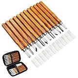 MAIKEHIGH 14Pcs Kit di strumenti per intaglio del legno - Scalpelli per intaglio professionali Coltello Manico intaglio sculture Esperti di carpentieri Principianti con coperture protettive