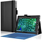 NAUC Tasche für Microsoft Surface 3 mit praktischer Stand Funktion aus Robustem Kunstleder kombiniert Schutz und Design für Ihr Microsoft Surface 3 Hülle Cover Case in Schwarz