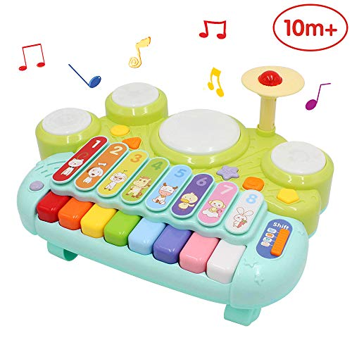 ANIKI TOYS Toddler Electronic Table Xylophone Piano with Jazz Drum Hamster Musical Instrument Toy for kids, Educational Muti-Function Activities Center with Light