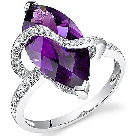 14 carato Oro Bianco Taglio Marchese 4.45 centimetricarati Ametista Diamante anello