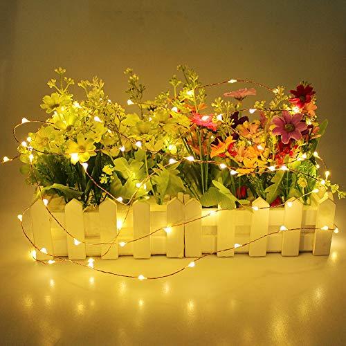 Prevently LED Lichterkette, Weihnachts-Deko 40 LEDs Lichterkette Solarenergie LED Laterne Blinkendes Schnurlicht für Weihnachten, Partys, BBQ, Hochzeiten oder Andere Partydekorationen 4 Meter (Gelb)