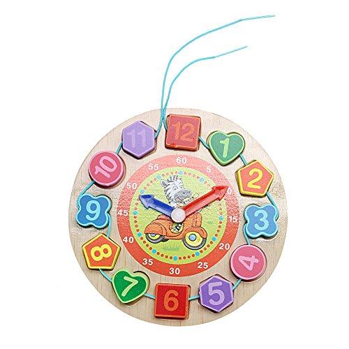 YouN Wanduhr, Holz, Cartoon-Muster-für Kinder, Spielzeug, Geschenk, zebra, 185.00*185.00*20.00mm 00 Ipod