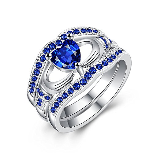 hten Diamanten Blue Crystal Diamond Zylindrische fein Ringe YunYoud partnerringe trauringe verlobungsring modeschmuck damenring günstig titanringe fingerringe ()