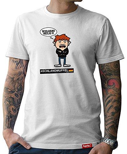 HARIZ  Pixbros Collection Herren T-Shirt Weiß Designs Wählbar Deutschland Trikot WM EM Fahne Inkl Urkunde Bang Sticks Pixbros09: Schlandmuffel 4XL