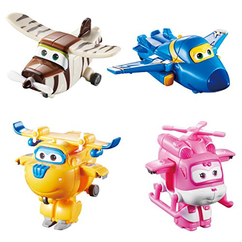 Auldeytoys YW710620 4er Pack Super Wings Transfoming Mini Jerome Donnie Dizzy Bello Spielzeugfigur