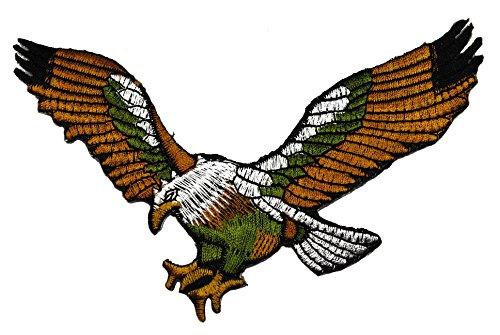 Adler in bronzefarben + silberfarben + grün zum aufnähen oder aufbügeln 12 x 7,5 cm groß