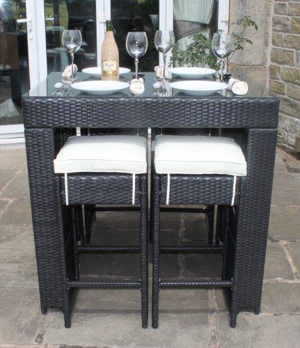 All weather black rattan outdoor garden furniture 5 piece for Outdoor furniture 5 piece