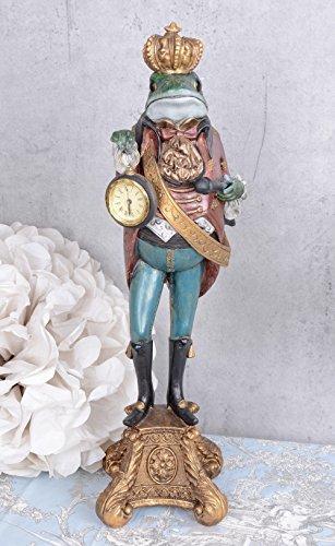 Uhrenträger Froschfigur Frosch mit Krone Tischuhr Barock Kaminuhr Palazzo Exclusive