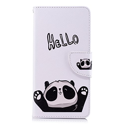 Unisnug Funda Xiaomi Redmi 5 Libro, Funda Rigida para Xiaomi Redmi 5 Book Cover Cartera Case Carcasas-Hola Panda