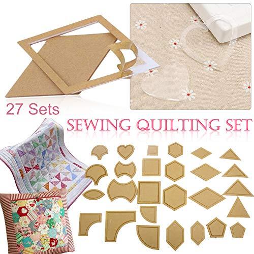 Comaie Mixed Quilting Vorlagen 54pcs DIY Tools Acryl Nähschablone Patchwork Quilter Styling Tool Handarbeit Nähzubehör Set Quilt-Schablone Sets Stitching Tuch Transparent Bastelzubehör (Acryl-quilt-vorlagen)