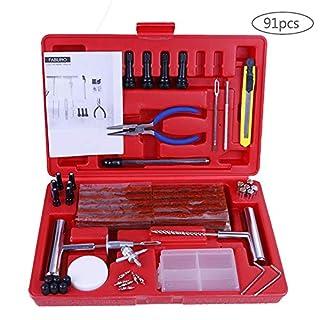Faburo 91pcs Tyre Repair Kit Tubeless Puncture Repair Kit for Car Motorcycle Truck