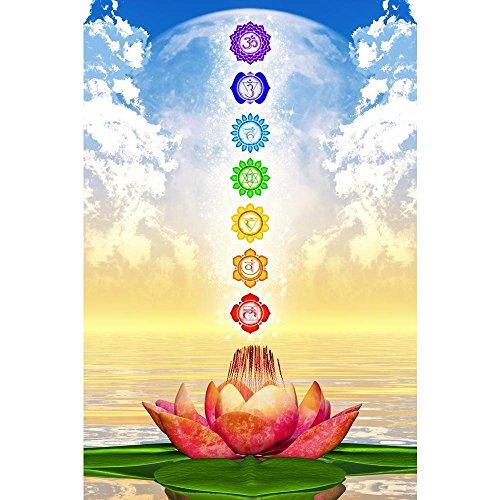 Pitaara Box Sacred Lotus & Chakras D2 Peel & Stick Vinyl Wall Sticker 16 X 24Inch (Peel-stick Vinyl)