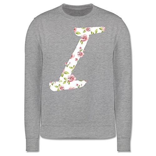 Anfangsbuchstaben - I Rosen - Herren Premium Pullover Grau Meliert